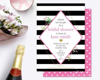 Kate Spade Shower | Bridal Shower Invite | Black and White Invitation | Kate Spade Invite | Shower Invitation | Bridal Shower