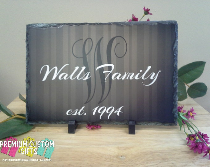 Real Slate For Wedding, Bridal Shower, Anniversary, Any Occasion Gift | Personalized Slate With Family Initial and Name Design#SL100