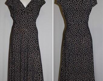Vintage Jones New York Dress Black Beige Polkadots Cap Sleeves Empire Waist V Neck Size 16