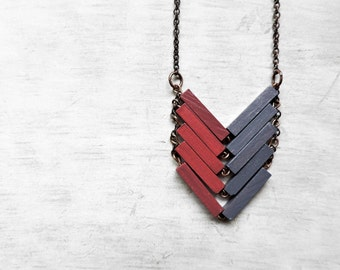 Wood Geometric Necklace // BIG BUBLE // Minimal Jewelry // Lavander // Cherry // Hand-Painted Necklace / Modern Necklaces / Chevron Necklace