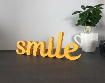 Positive wood sign 'smile' painted in yellow, or color of your choise. Happy home wooden sign, smile office workspace sign, happy mood sign