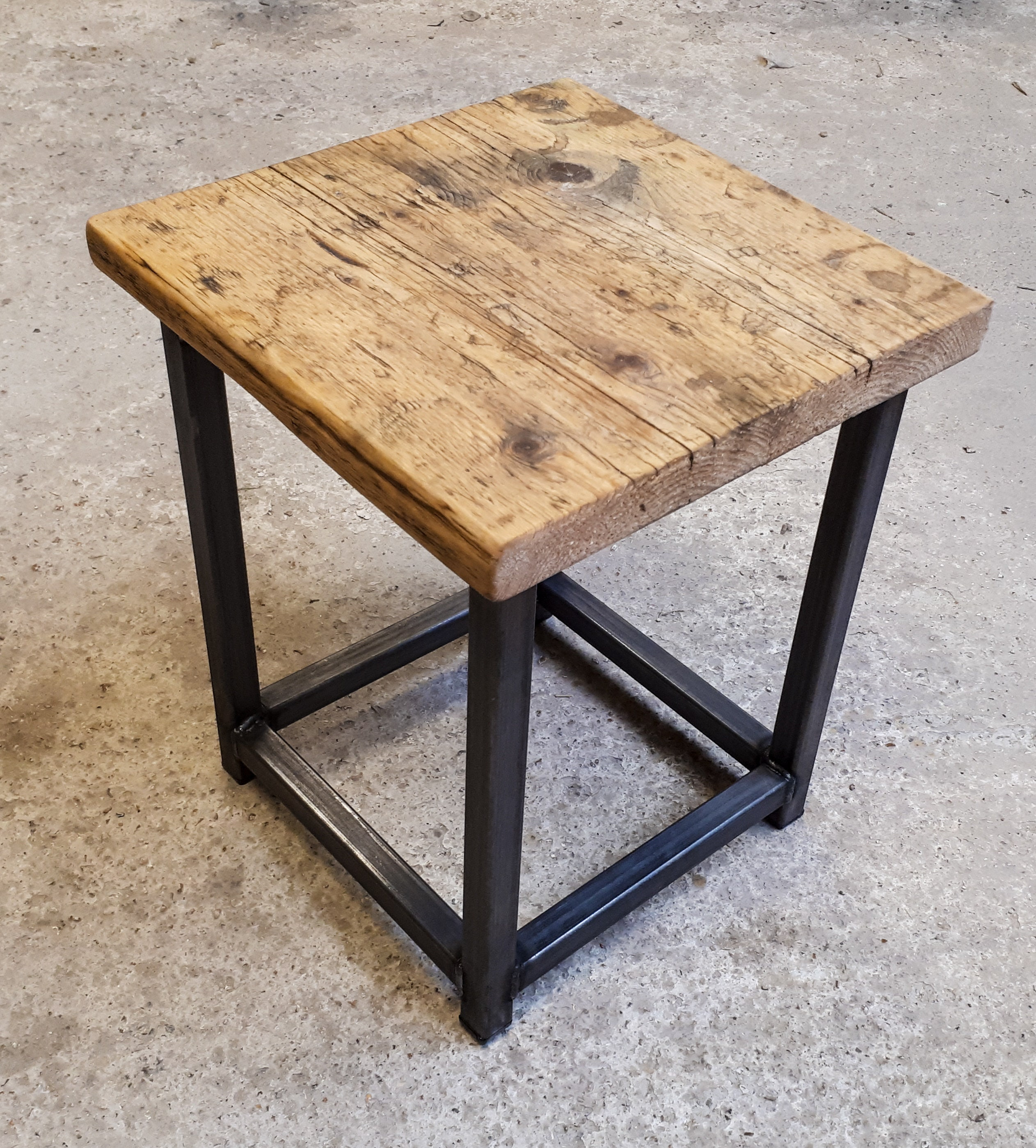 Reclaimed Rustic Scaffold Board & Steel Industrial Look Stool Side