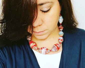 Red/White/Blue Handmade Paper Necklace and Mismatched Earring Set