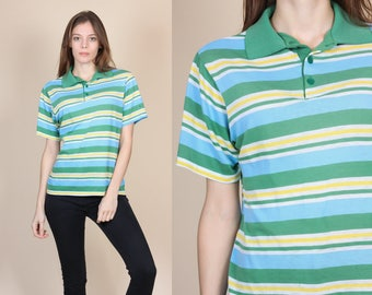 70s Striped Polo - Medium // Vintage Paper Thin Short Sleeve Collared Shirt