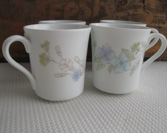 Vintage Pastel Bouquet by Corning Mugs set of 4