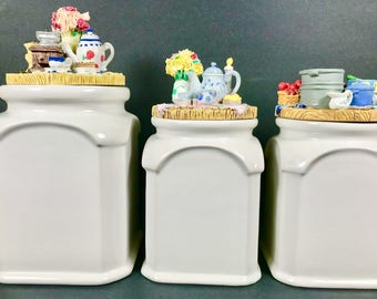 Ceramic White Kitchen Canisters~~ 3D Lids ~~Country Kitchen~~Farmhouse ~~Shabby Chic~~Coffee~~Tea~~Flour~~Sugar