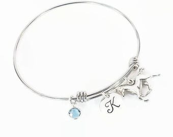 Horse Initial Birthstone Hand Stamped Bracelet Bangle, Equestrian Bracelet, Pony Bangle with Horse Charm and Swarovski Crystal Birthstone