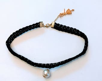 Ballerina Black Ribbon Choker Necklace