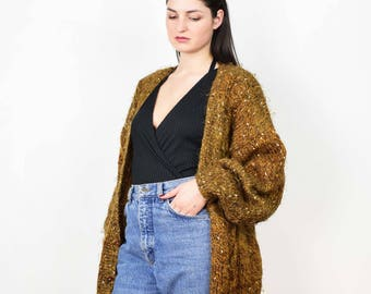 Vintage knit cardigan, brown cozy cardigan, chunky knit sweater, medium size, large size, sweater coat, womens cardigan, long cardigan