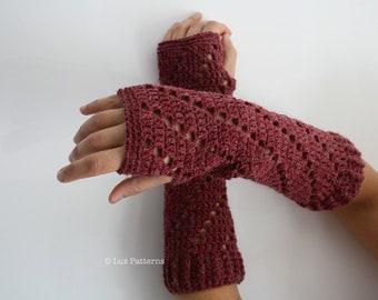 Crochet patterns, girl and women arm warmer pattern, wrist warmer crochet pattern, INSTANT DOWNLOAD fingerless glove pattern (113)
