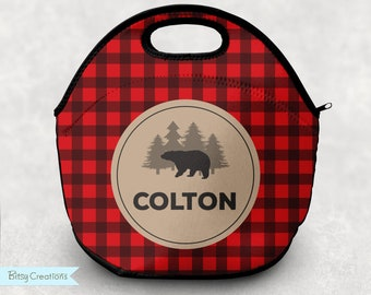 Personalized Bear Lunch Tote - Buffalo Plaid Lumberjack Plaid Lunch Bag for Kids - Washable Soft Neoprene