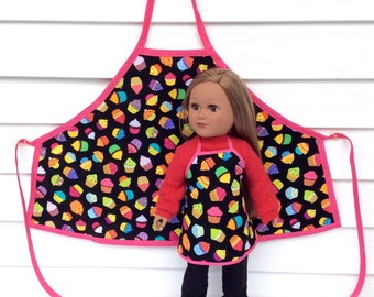 Matching Girl and Doll Aprons, 18 Inch Doll and Girl Apron, Cupcake Aprons for A Doll and Her Girl