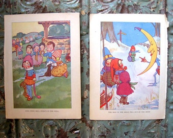 Two Vintage Book Prints from Mother Goose, Ding Dong and Man in the Moon, 1920s