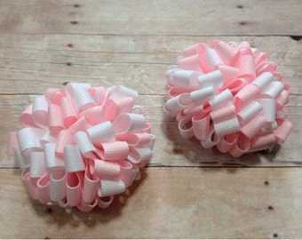 Pink and white glitter loopy puff bows