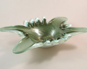 Vintage Murano Art Glass Bowl Shades of Green with White and Gold