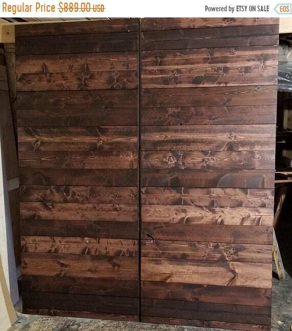SALE - Last Set ON SALE - Horizontal Plank Barn Door Package - Barn Doors - Double Barn Doors - Wood Doors - Sliding Door - Sliding Wooden D