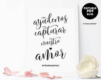 Wedding Hashtag Sign Printable Spanish Wedding Signs Spanish Wedding Reception Signs Spanish Social Media Sign Wedding Template Download PDF