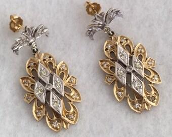Heirloom 14K Gold 3/4ct Diamonds Fleur De Lis chandelier Earrings Custom Made  White Gold Raised Marquise Design W/ Yellow Quality Diamonds