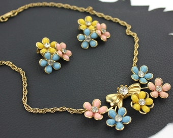 Pastel Pink Blue Yellow Spring Flower & Rhinestone Necklace and Earring Set