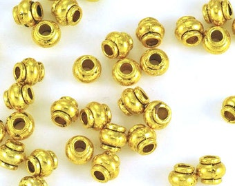 Pewter Oxidized Gold Plated Bali Style Spacer Beads 4mm  - 50