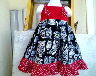 Red and Black OWLS Knot dress  @@ Sizes from 12 Mo. to 6 Girls @@