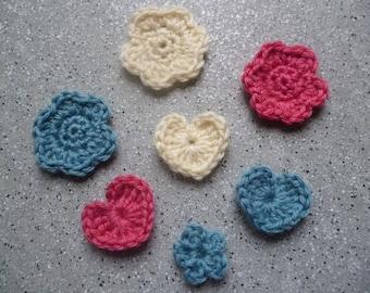 7 flowers and hearts crocheted in pink, blue, ecru wool handmade