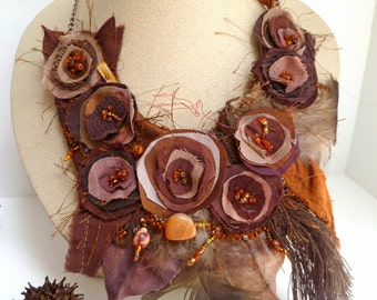 Fiber art brown bib necklace, hand stitched, textile art featured In Belle Armoire Jewelry Magazine, statement, Fall Beauty IV
