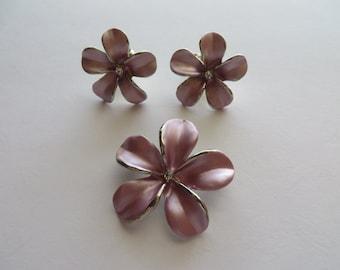 Pink Pearl Enamel Pendant / Brooch and Earring Set