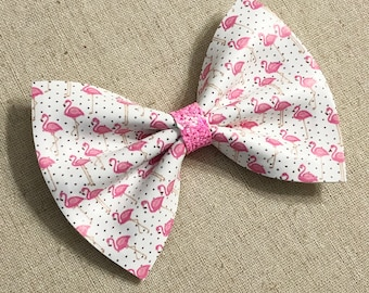 Pink Flamingo Faux Leather Hair Bow