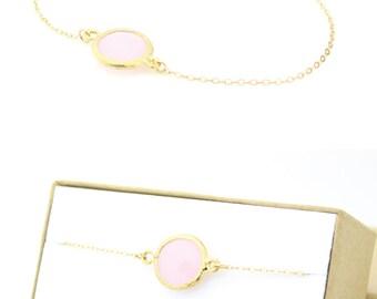 Blush Pink / Gold Circle Bracelet - Pink and Gold Round Bracelet - Bridesmaid Jewelry - Pink Bridesmaid Bracelet - Bridesmaid Gift - BB1