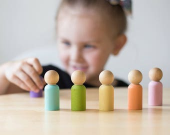 Wood Peg People Set - Pastel