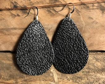 Black Teardrop Leather Earrings.