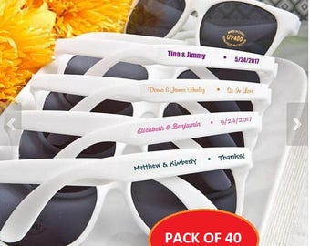 Personalized Wedding Sunglasses (Pack of 40) Summer Wedding Favors