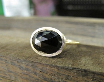 Rose Cut Black Spinel 14K Yellow Gold Ring