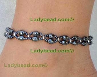Anklet Hematite Double Strand Jewelry Ladybead Jewelry A42
