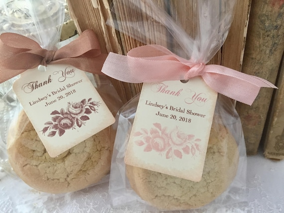 Roses Bridal Shower Cellophane Treat Bags, Rose Cello Food Cookie Candy Bags, Tags, Ribbon, Set of 10
