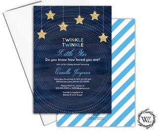 Twinkle twinkle little star baby shower invitation boys, unique baby shower invites, printable or printed, navy blue gold stars - WLP00754