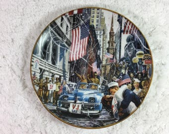 """Limited Edition """"VJ Day"""" by William Teodecki Collectible Plate by Franklin Mint / fine porcelain / World War II series"""