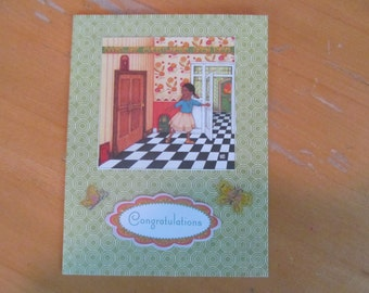 Doors Are Everywhere. Open Them -- Congratulations Card -- Mary Engelbreit Upcycle