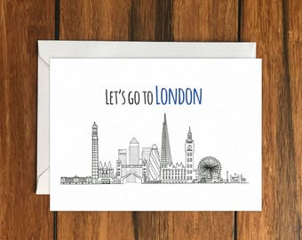 Let's go to London One Original Blank Greeting Card A6 and Envelope Perfect gift card