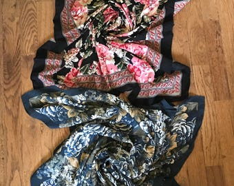 two beautiful floral design scarves