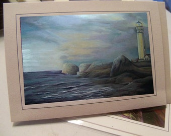 greeting card print of drawing  seascape lighthouse