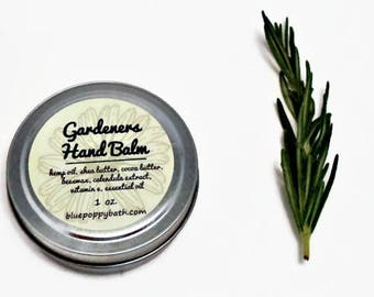 Gardeners Hand Balm, Garden Hand Salve, Herbal Hand Repair with Calendula & Hemp Seed Oil, Garden Gift, Natural Herbal Balm