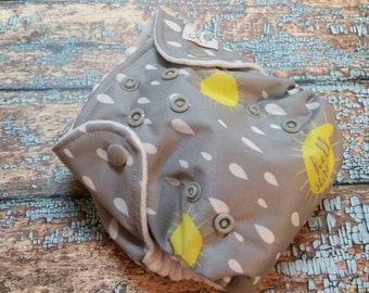 Newborn AI2 Cloth Diaper Natural Cotton Hello Sunshine Made to Order All in Two PUL