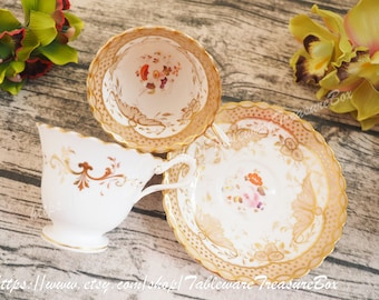Antique Unmarked trio, entwined handle teacup and coffee cup and saucer, 3pcs set, seems to be H&R Daniel