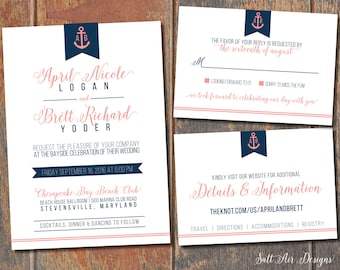 Printable Nautical Wedding Invitation Suite. Anchor. Coral & Navy Wedding Invitation.