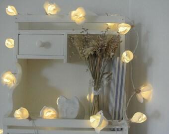 Fairy light garland, White Wedding lights garland, Wedding decor, Flower garland, Lights garland, White flowers, Home decor.