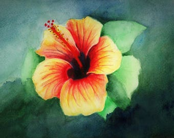 """Hibiscus, fine art giclee reproduction of an original watercolor painting by Meike Geisler, 5.5"""" x 8.25"""", tropical flower, yellow, red,green"""