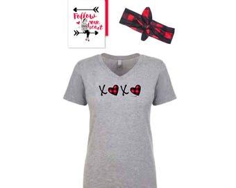 Valentine T-Shirt, Headband and Greeting Card Gift Set, XOXO, Buffalo Plaid