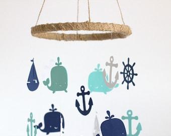 Rustic Burlap Nautical Nursery Mobile in Navy, Aqua & White-Baby Mobile, Baby Shower Gift